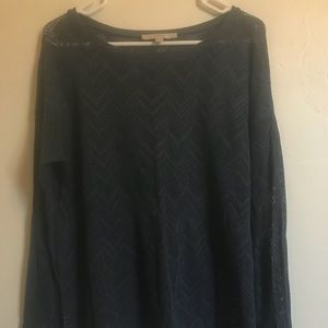 Blue sweater.
